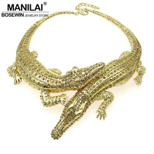 MANILAI Baroque Big Crocodile Necklaces Inlay Full Rhinestones Women Big Choker Statement Jewelry Bib Collar Maxi Necklaces 3983(China)