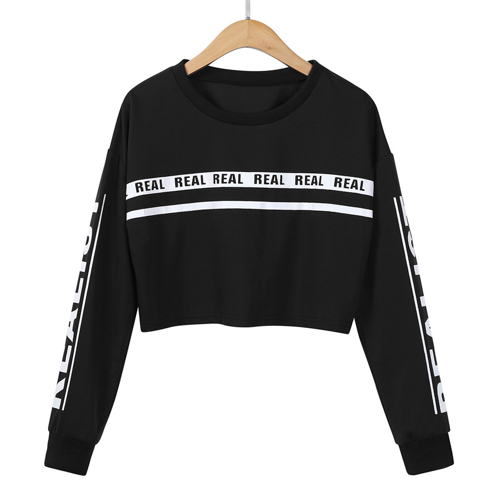 Autumn Winter Fashion Hoodies White hoody Letter pullover Crop Tops Women Clothing Feminina Sweatshirt Short Top Jumper Warm
