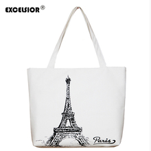 EXCELSIOR Zipper Shopping Bag Canvas Paris Eiffel Tower Pattern Women Tote Crossbody Shoulder Bags Foldable Bolsas Femininas