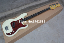 Hot sale 20 frets 4 strings milk-white body electric bass guitar with red pearl pickguard,chrome hardware,can be changed