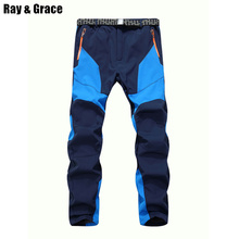 Winter Men Warm Softshell Fleece Pants Skiing Snowboard Outdoor Sport Hiking Trousers Grey Camping Climbing Breath Snow Pants(China)