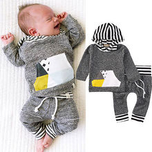 Kid Infant Baby Boys Leopard Pullover Hooded Coat + Pants Set Clothes Outfit 0-18M