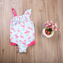 2-7Y Toddler Kids Baby Girl Flamingo Print Bikini Swimwear Swimsuit Beachwear Children Bathing Suit