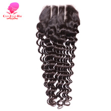 QUEEN BEAUTY HAIR Brazilian Deep Wave Lace Closure Virgin Hair,4*4 Siwss Lace with 130% Density Three Part Closure Free Shipping