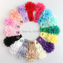trail order Baby Girl Headbands New 2014 Toddler Kid Infants Crochet Hairband Chiffon Headband Children Accessories 16pcs/lot(China)