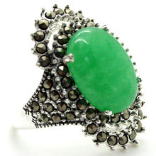 nice gift 17*29mm VINTAGE GREEN JADE MARCASITE 925 STERLING SILVER RING SIZE 7/8/9/10