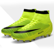 New Adults Men's Outdoor Soccer Cleats Shoes High-top TF/FG Football Boots Training Sports Sneakers Shoes(China)