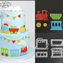 Yueyue Sugarcraft Train Set plastic fondant cutter cake mold fondant mold fondant cake decorating tools sugarcraft bakeware(China)