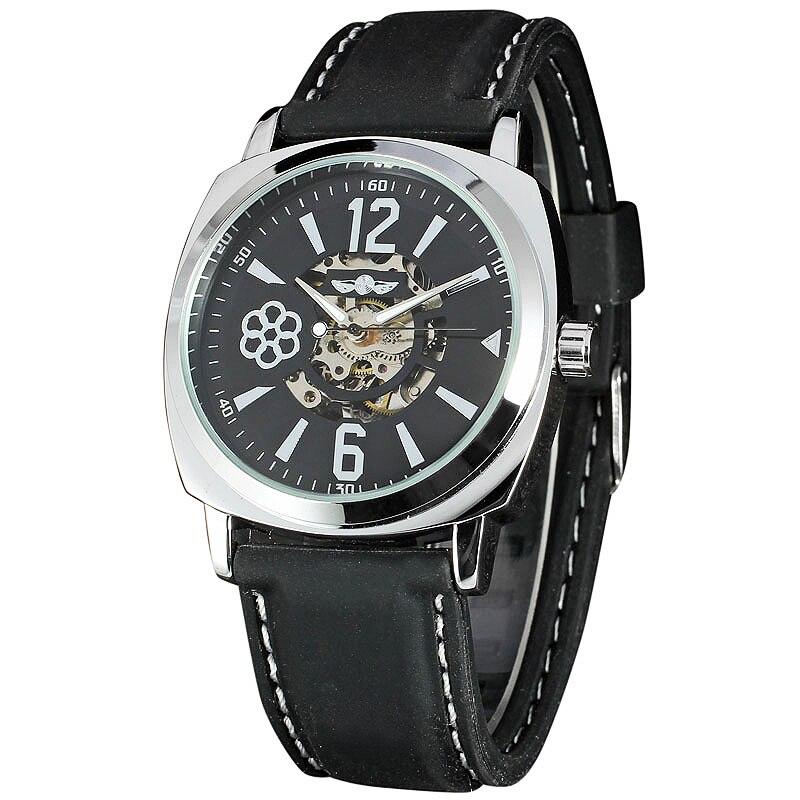 Mens Genuine Leather Watches WINNER Top Brand Luxury Mens Automatic Mechanical Wristwatch Fashion Skeleton Clock reloj hombre<br><br>Aliexpress