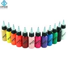 OPHIR 12 Colors Acrylic Airbrush Nail Inks for Nail Stencil Art Polishing 30 ML/Bottle Temporary Tattoo Pigment _TA100(1-12)