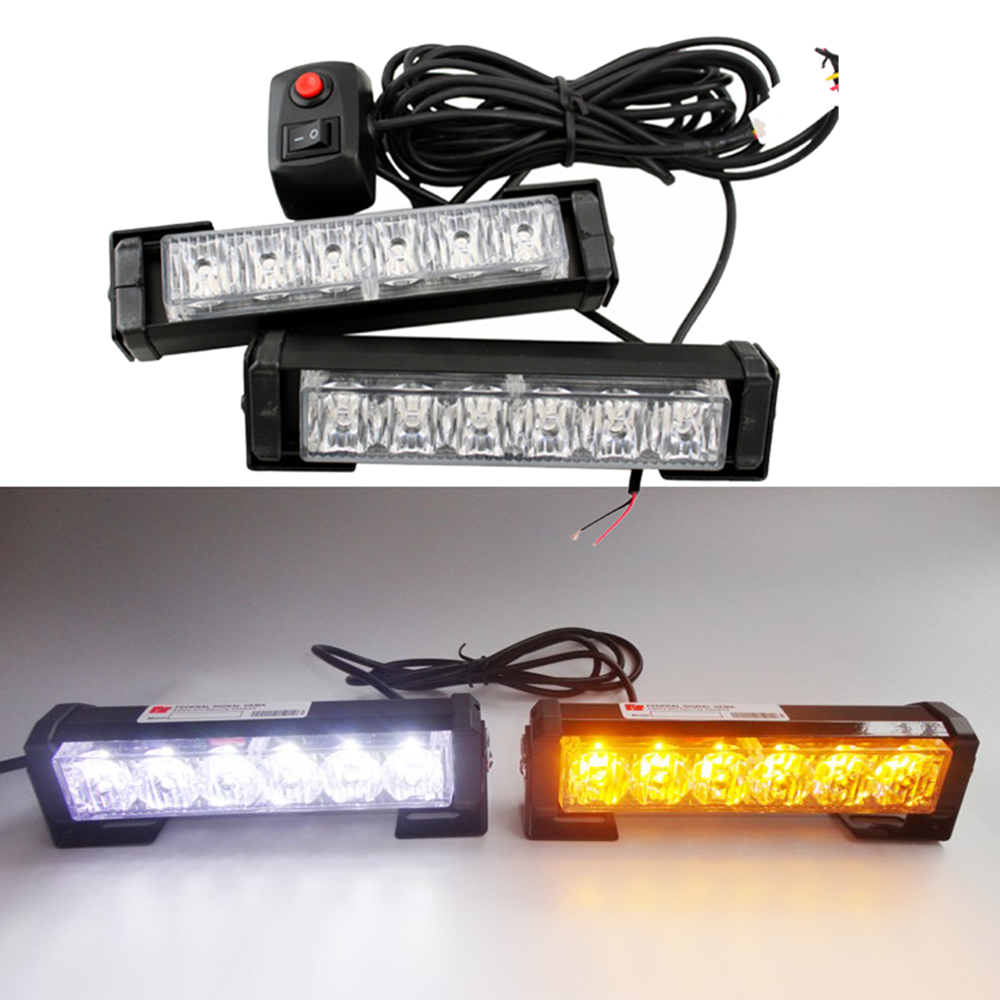 2 x6LED Car Hazard Warning Light High Power 36W Car Emergency Strobe LED Beacon Light Bar Amber White<br>