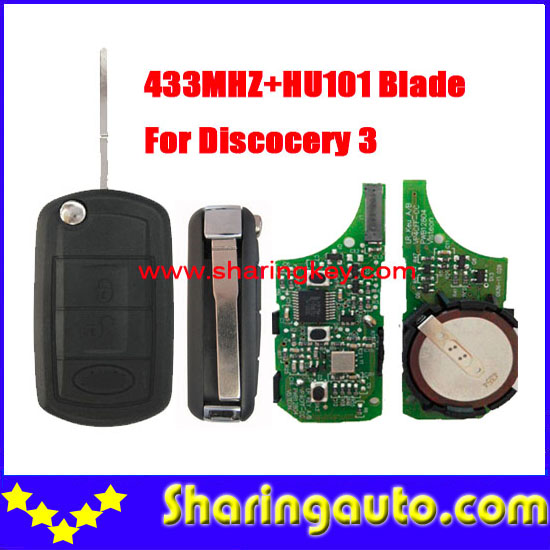 Free shipping 3 Button Flip Remote Key For landrover Discovery 3 433MHZ Hu101 Blade(1piece)<br>