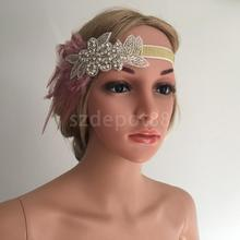 Diamante Flower Pink Feather 1920s Flapper Headpiece Fascinator Women Wedding Elastic Headband