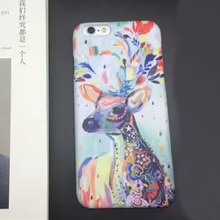 1 Pc/lot Hard PC Decal Ink Orchid Colored Elk Pattern Scrub Back Cover Cell Phone Case For iPhone 7 6s Plus(China)