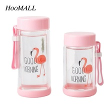 Hoomall 200/230ml Double Glass Wall Flamingo Water Bottle for Students Creative Cute Girls Portable Juice Bottle Wholesale(China)