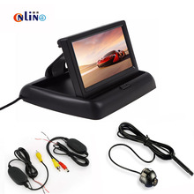 2.4G Wireless Video4.3 Auto Parking System display HD Car Rearview Mirror Monitor +170 degrees Waterproof Car rear view camera(China)