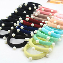 1Pieces 2017 Korean Pearl Towel Ring Candy Color Ring Hair Headdress Jewelry Wholesale Cute Hair Accessories For Women headwear