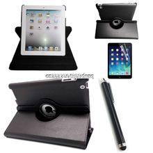 high quality Case For Apple iPad 2 iPad 3 iPad 4 PU Leather Smart Stand Flip Case Cover 360 Rotating Screen Protector Film + pen
