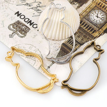 2017 Vintage Mix Color Cute Cats Antique Metal Hollow Frame Glue Blank Connector Charms Pendant DIY Jewelry Findings Accessories
