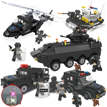 HSANHE SWAT Series Police Ship Helicopter Truck Armored Car Action Model Building Block Set Brick Toys Gifts For Children
