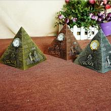 2017 new Egyptian pyramid miracle electroplating work fine tourist souvenir pyramid model home furnishings with clock(China)