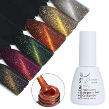 BORN PRETTY Cat Eye Nail Gel Polish 10ml Holographic Magnetic Soak Off UV Gel Polish No Need Black Base(China)