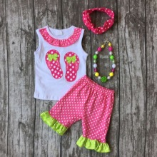 baby Girls Summer clothes girls summer slipper outfits baby children girls hot pink dot  shorts Clothes with accessories
