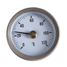 0~120C 63mm Dial Stainless Steel Clip-on Spring Temperature Testing Gauge Thermometer Bimetal Surface Pipe Thermometer
