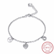 INALIS Real 925 Sterling Silver Pearl Bracelets for Women Fashion Heart Charm Bracelet Wedding Party Fine Jewelry Girls Gift(China)