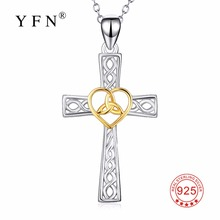 PYX0304 YFN Genuine 925 Sterling Silver Cross Pendants Necklaces Love Heart Knot Jewelry Necklace For Women(China)