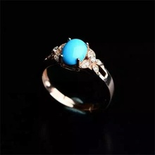 Haleigha 925 Sterling Silver Genuine Nature Blue Turquoise Rose Gold Color Fine Butterfly Split Shank Luxury Gift Ring for Women