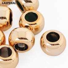 20PCs Gold Color Plastic Beads LASPERAL For DIY Fashon Necklace Jewelry Accessories Gift Smooth Round Shape Charm Beads 15x10mm