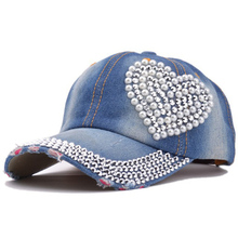 Korean Fashion Crystal Floral Denim Baseball Cap Bling Rhinestone Hip Hop Adjustable Snapback Hat for Women(China)