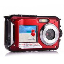 Amkov Front and Rear Dual-screen Digital Camera Life Waterproof Self-timer Camera 1080P HD Mini Camara Fotografica Digital W599(China)
