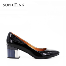 SOPHITINA Brand Thick heel Ladies Pumps Patent Leather Pointed Toe Colorful heels Party Wine Red Black Handmade Shoes Women D13(China)