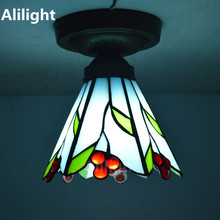 Tiffany Small Ceiling Light Stained Glass Lampshade Country Hanging Lamp Kitchen Indoor Lighting E27 110-240V Decor Ceiling Lamp