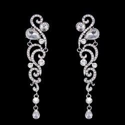 Женские длинные кристаллические серьги