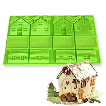 Creative Christmas Gingerbread House silicone cake molds sugar craft cake decorating tools Moldes De Silicone Rendas Para Bolo