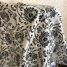 DAXIAOBU Cotton Linen Fabric Handmade Table Cover Home Deco Vintage Black Flower 17128i