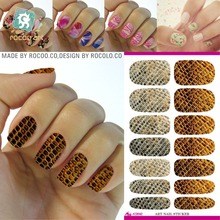 K5642/Fashion Manicure Decoration Decals Gold Leather Design Water Transfer Nail Art Sticker