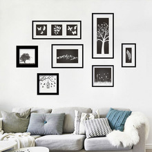7Pcs/set Artistic Classic Wall Sticker Decal Decorative Vinyl Mural Frame Wall Pictures For Living Room Black And White 60*90 cm