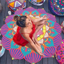 Printed Beach Towel Yoga Flowers Serviette De Plage Cushion Bath Towel Mat Round Large