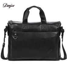DANJUE Business Briefcase Men Genuine Leather Gentleman Brand Real Leather Handbag Men's Totes Laptop Shoulder Bag(China)
