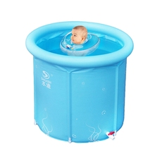 Portable Inflatable cotton bottom inner net warm keeping design Frame type tub 3 size option kids swimming pool baby bathtub(China)
