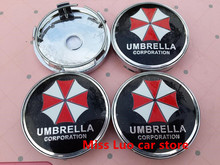 4pcs Free shipping 60mm UMBRELLA CORPORATION emblem Wheel Center Hub Caps Dust-proof Badge logo covers car styling(China)