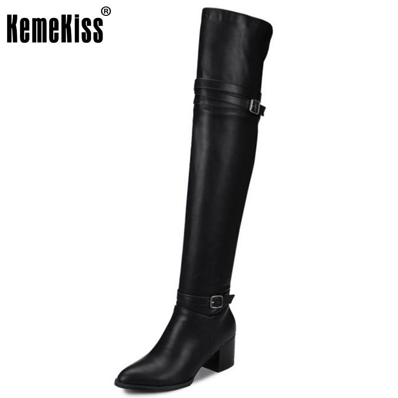 KemeKiss Size 32-48 Women Over Knee High Hee Boots Metal Buckle Warm Fur Shoes For Cold Winter Boots Long Boots Women Footwear<br>