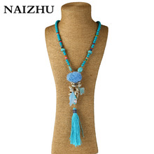 Buy NAIZHU Boho handmade long stone beaded chain necklaces Bohemian pompous tassel pendant necklace women shell beah jewelry for $5.57 in AliExpress store