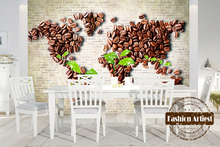 Custom 3d vintage coffee bean wallpaper mural world map green leave tv sofa bedroom living room cafe bar restaurant background