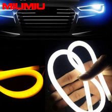 45cm White Amber Tube LED Strip Flexible DRL Daytime Running Light Tears Eyes Decor Light Suitable for DC 12V Power Supply Only(China)
