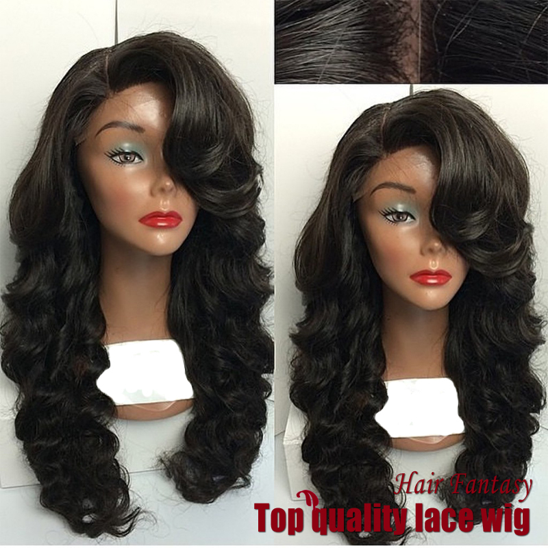 2017 Premium Top Selling Deep Wave Wig Synthetic Lace Front Wigs Black Side Part With Full Bangs Bouncy Heat Resistant Hair Wigs<br><br>Aliexpress